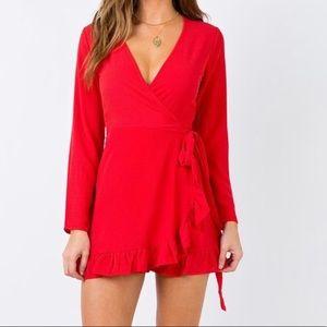 Princess Polly Agnetha Red Longsleeve Mini Dress
